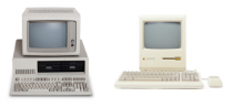 Old personal computer and Macintosh
