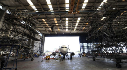 aircraft in hanger receiving efficient maintenance